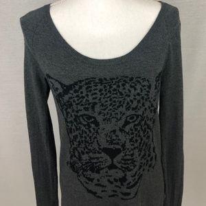 Rock & Republic Leopard Studded Shoulder Sweater